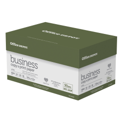 "Office Depot® Brand Business Copy and Print Paper, Letter Size (8-1/2"" x 11""), 92 (U.S.) Brightness, 20 Lb, Ream Of 500 Sheets, Case Of 10 Reams"