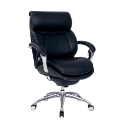 Serta® iComfort i5000 Manager Bonded Leather Mid-Back Chair, Onyx Black/Silver