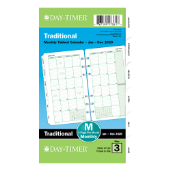 """Day-Timer® Classic Monthly Refill, Portable Size, 3-3/4"""" x 6-3/4"""", January to December 2020"""