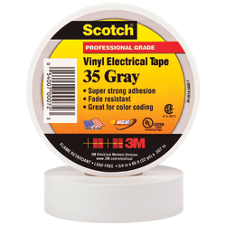 """3M™ 35 Color-Coded Vinyl Electrical Tape, 1.5"""" Core, 0.75"""" x 66', Gray, Pack Of 100"""