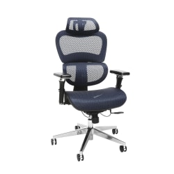 OFM Core Collection Model 540 Ergo Mesh High-Back Chair With Headrest, Blue, Black/Chrome