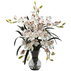 "Nearly Natural 34""H Cymbidium Arrangement With Glass Vase, White"