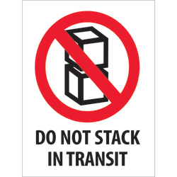 "Tape Logic® Preprinted International Safe-Handling Labels, DL2150, Do Not Stack In Transit, Rectangle, 3"" x 4"", Red/White/Black, Roll Of 500"