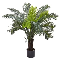 Nearly Natural 3'H Artificial Cycas Tree With Pot, Green/Black