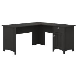 Bush Furniture Salinas L Shaped Desk With Storage, Vintage Black, Standard Delivery