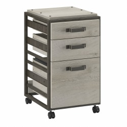 Bush Furniture Refinery 3-Drawer Mobile File Cabinet, Cottage White, Standard Delivery