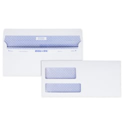 "Quality Park® Reveal-N-Seal® Business Security Double-Window Envelopes, #9, 3 7/8"" x 8 7/8"", White, Box Of 500"