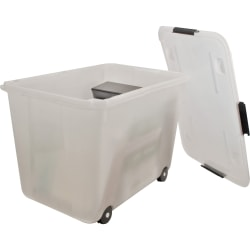 "Advantus 15-gallon Rolling Storage Tub - External Dimensions: 23.8"" Width x 15.8"" Depth x 15.8"" Height - 15 gal - Stackable - Plastic - Clear - For Document - 1 Each"