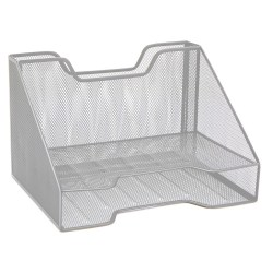 "Mind Reader 3-Compartment Desk Organizer, 8-1/4""H x 12-1/2""W x 9-3/4""D, Silver"
