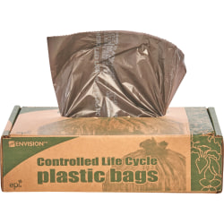 Controlled Life Cycle Trash Garbage Bags, 0.8 mil, 30 Gallon, Brown, Box Of 60