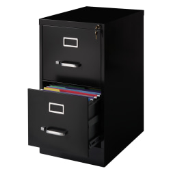 "Realspace® 22""D Vertical 2-Drawer File Cabinet, Metal, Black"
