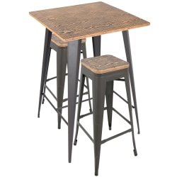 Lumisource Oregon Industrial Pub Table With 2 Stools, Medium Brown/Gray