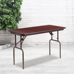"Flash Furniture Folding Banquet Table, 30""H x 24""W x 48""D, Mahogany/Brown"