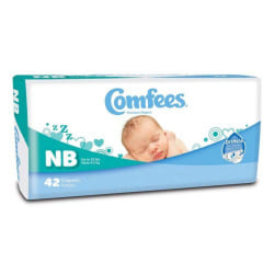 Attends® Comfees® Baby Diapers, Size Newborn, White, Pack Of 42