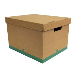 "Office Depot® Brand Medium Quick Set Up Corrugated Medium-Duty Storage Boxes With Lift-Off Lids And Built-In Handles, Letter/Legal Size, 15"" x 12"" x 10"", 100% Recycled, Kraft/Green, Case Of 5"