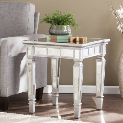 Southern Enterprises Glenview Glam Mirrored End Table, Square, Matte Silver