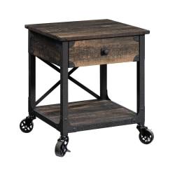 """Sauder® Steel River Mobile Side Table, 23""""H x 22-1/2""""W x 21-11/16""""D, Carbon Oak"""