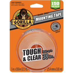 "Gorilla Tough & Clear Mounting Tape - 12.50 ft Length x 1"" Width - 1 Each - Clear"
