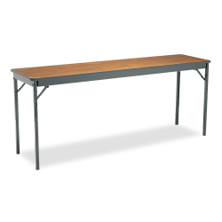 "Barricks Special Size Folding Table, Rectangle, 72""H x 18""D, Black/Walnut"