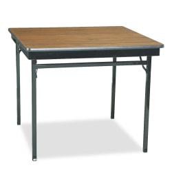 "Barricks Special Size Folding Table, Square, 36""W x 36""D, Black/Walnut"
