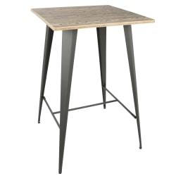 Lumisource Oregon Industrial Table, Square, Medium Brown/Gray
