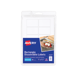 """Avery® Dissolvable Labels, 4225, Rectangle, 1"""" x 1 1/2"""", White, Pack Of 50"""