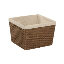 """Honey-Can-Do Paper Rope Basket With Lining, 13"""" x 15"""" x 10"""", Brown"""
