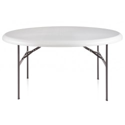 "Realspace® Molded Plastic Top Folding Table, 60"" Diameter, Platinum"