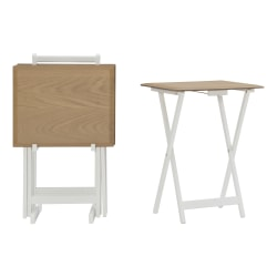 """Linon Martell 5-Piece Tray Table Set, 26-3/8""""H x 18-15/16""""W x 15-3/4""""D, Natural/White"""