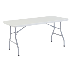 """National Public Seating Blow-Molded Folding Table, Rectangular, 60""""W x 30""""D, Light Gray/Gray"""