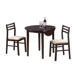 Monarch Specialties Holly Dining Table With 2 Chairs, Cappuccino