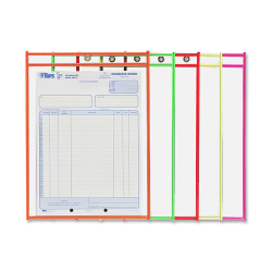 """C-Line® Neon Color Stitched Shop Ticket Holders, 9"""" x 12"""", Assorted Colors, Box Of 25"""