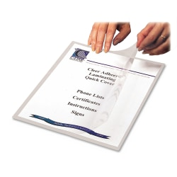 """C-Line® Cleer-Adheer Laminated Film Covers, 8 1/2"""" x 11"""", Clear, Box Of 25"""