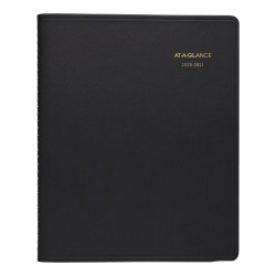 """AT-A-GLANCE® Academic 18-Month Planner, 9"""" x 11"""", Black, July 2020 to December 2021, 7007405"""