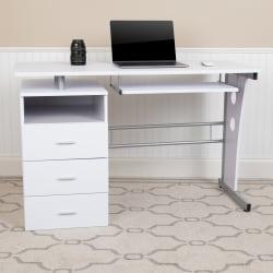 "Flash Furniture 48""W Computer Desk With 3-Drawer Single Pedestal, White"