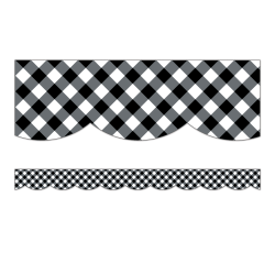 "Schoolgirl Style Scalloped Bulletin Board Borders, 3' x 3"", Woodland Whimsy Black & White Gingham, 13 Strips"