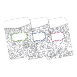 Barker Creek Peel & Stick Library Pockets, Color Me! In My Garden, Pack Of 30