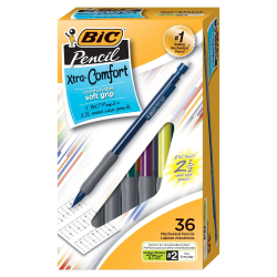 BIC® Xtra Comfort Mechanical Pencils, Medium Point, 0.7 mm, #2 Medium, Assorted Barrel Colors, Pack Of 36