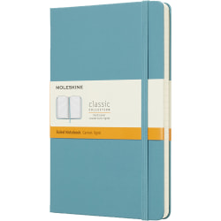 """Moleskine Classic Hard Cover Notebook, 5"""" x 8-1/4"""", Ruled, 240 Pages (120 Sheets), Reef Blue"""