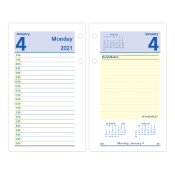 """AT-A-GLANCE® QuickNotes Daily Loose-Leaf Desk Calendar Refill, 3-1/2"""" x 6"""", January to December 2021, E51750"""