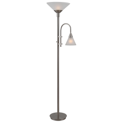 """Kenroy Home Brady Torchiere Floor Lamp, 71-1/2""""H, Frosted White Shade/Brushed Steel Base"""
