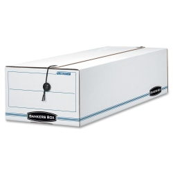 """Bankers Box® Liberty® Corrugated Storage Boxes, 4 1/2"""" x 6 1/4"""" x 24"""", 65% Recycled, White/Blue, Case Of 12"""