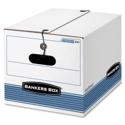 "Bankers Box® Medium-Duty Storage Boxes, Letter/Legal Size, 11"" x 12 1/4"" x 16"", 65% Recycled, White/Blue, Case Of 12"