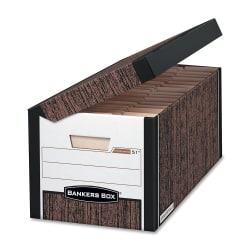 """Bankers Box® Systematic™ Storage Boxes, Letter Size, 10 3/8"""" x 13"""" x 25 1/2"""", 35% Recycled, Woodgrain, Case Of 12"""