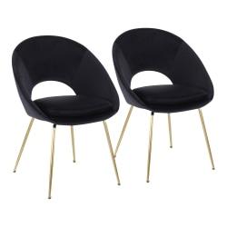 LumiSource Metro Velvet Chairs, Black/Gold, Set Of 2 Chairs