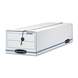 "Bankers Box® Liberty® Corrugated Storage Boxes, 6 1/4"" x 9 3/4"" x 23 3/4"", 65% Recycled, White/Blue, Case Of 12"