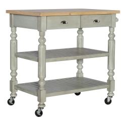 """Linon Home Decor Products Bakari 2-Drawer 36""""H Kitchen Cart With Shelves, Distressed Gray/Natural"""