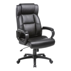 Lorell® SOHO Bonded Leather High-Back Executive Chair, Black