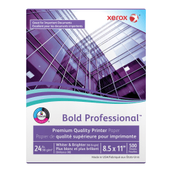 """Xerox® Bold Professional™ Quality Paper, Letter Size (8 1/2"""" x 11""""), 98 (U.S.) Brightness, 24 Lb, FSC® Certified, Ream Of 500 sheets"""