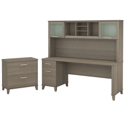 """Bush Furniture Somerset 72""""W Office Desk With Hutch And Lateral File Cabinet, Ash Gray, Standard Delivery"""